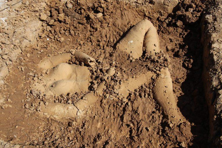 Erst hat Michelle Harder Gipsabdrücke von ihrem Körper gemacht, um sie dann mit Mutterboden und Heilton auszugießen und die so geschaffenen Objekte in einer Grube zu installieren.
