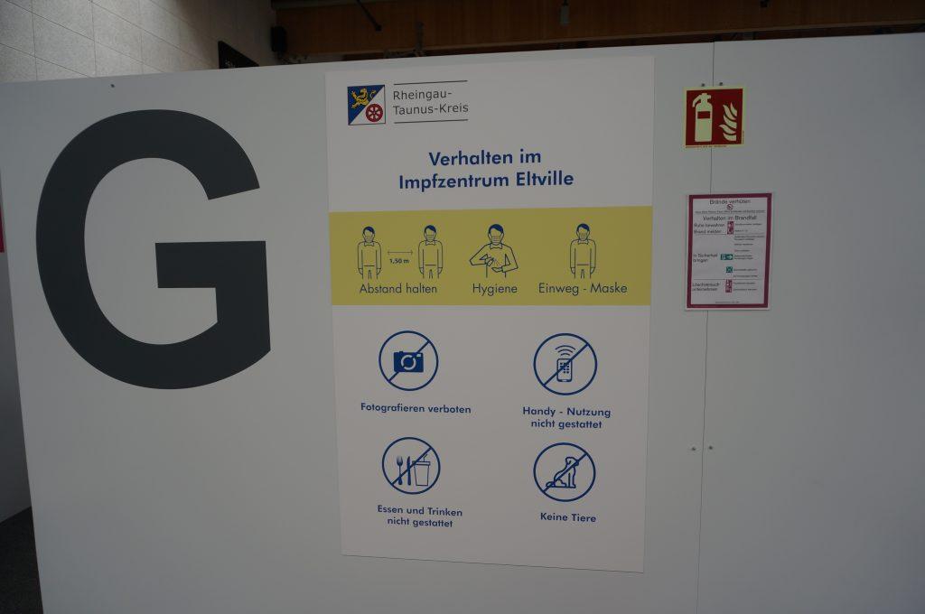Die Verhaltensregeln für das Impfzentrum.